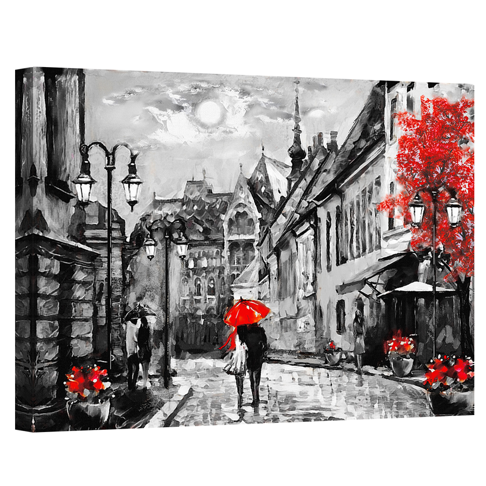 COUPLE WITH RED UMBRELLA UNDER RAIN IN PARIS PRINT ON FRAMED CANVAS PORTRAIT Art