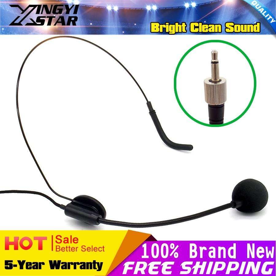 3.5mm Screw Thread Lock Plug Headset Microphone Headworn Ear Hook Mic Mike Microfone Microfono For Wireless BodyPack Transmitter