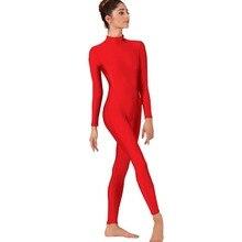 Женский красный комбинезон с длинным рукавом, боди для балета, лайкра, спандекс, цельная водолазка, Одежда для танцев, мужские костюмы зентай