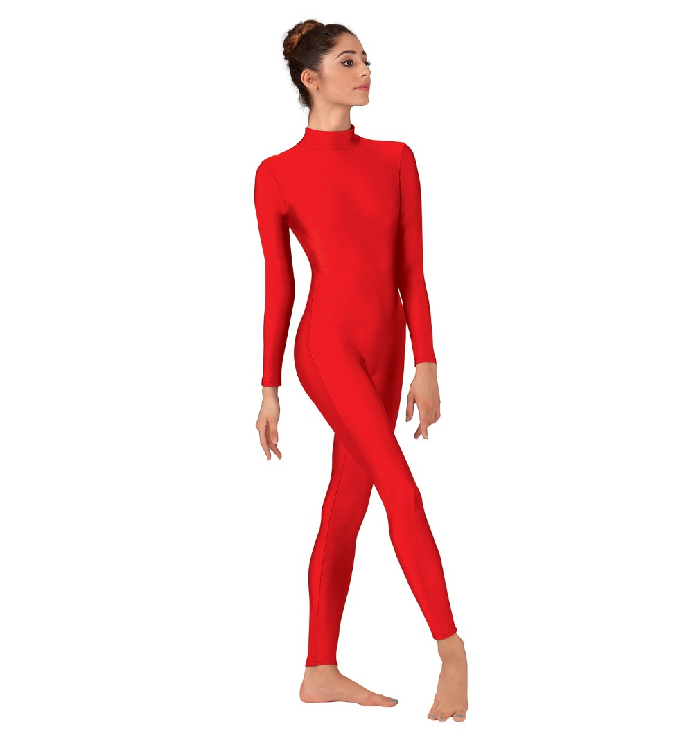 Women Red Unitard Long Sleeve Mock Neck Ballet Bodysuit Lycra Spandex One Piece Turtleneck Dance Wear Men Zentai Costumes