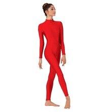 Women Red Unitard Long Sleeve Mock Neck Ballet Bodysuit Lycra Spandex One Piece Turtleneck Dance wear Men Zentai Costumes
