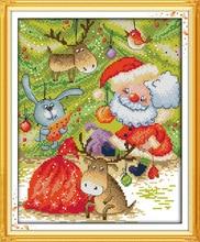 Joy Sunday Cartoon The jungle carnival happy christmas Counted Cross Stitch Kits printed Cross-stitch set Embroidery Needlework