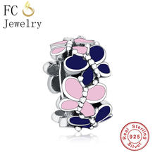 FC Jewelry Fit Original Pandora Charm Bracelet 925 Silver Grow in Dark Blue Pink Enamel Butterfly Beads Spacer Making Berloque(China)