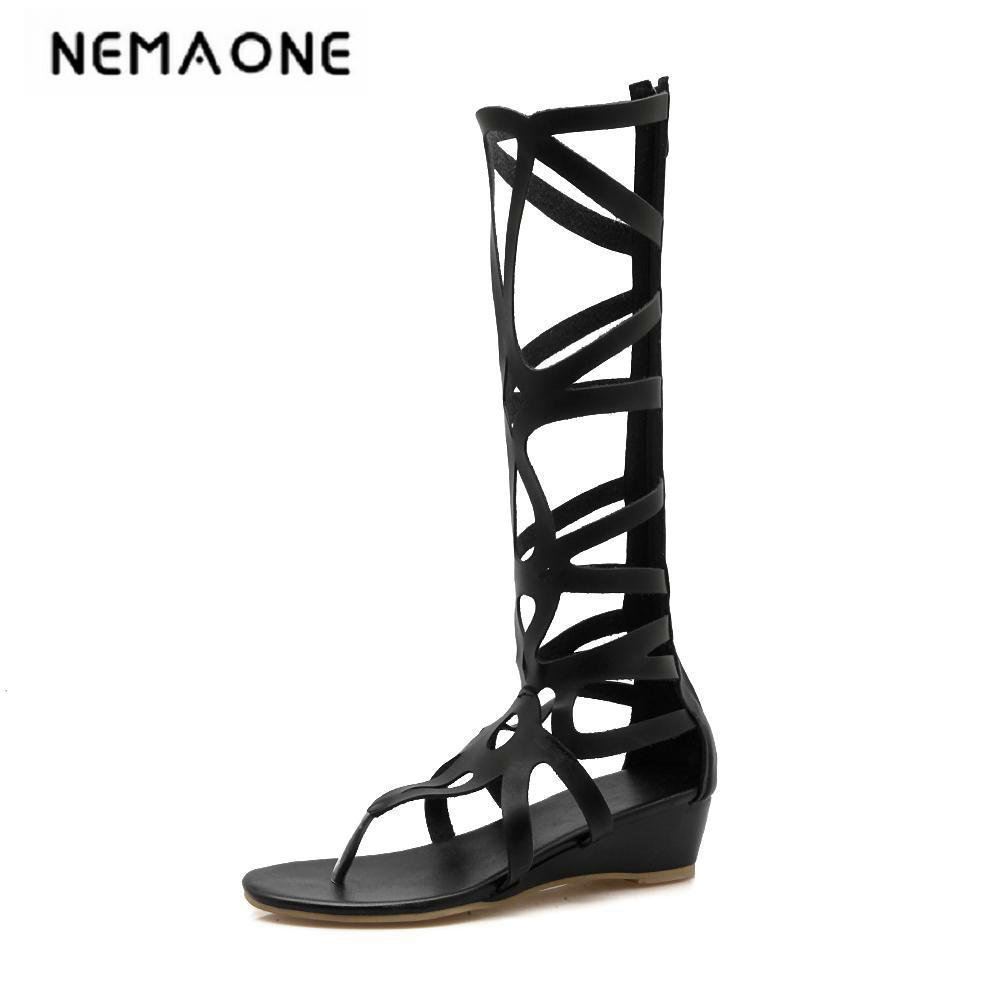 2018 fashion gladiator women shoes summer boots ladies wedges knee boots low heel shoes woman black summer shoes new women sandals low heel wedges summer casual single shoes woman sandal fashion soft sandals free shipping