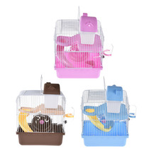 Hamster Cage Double-deck Small Castelet Pet Nest Mouse House with Slide Disk Spinning Bottle Small Castle Hamster Cage m004a cute lovely 2 floor pet house w slide runner waterer for hamster multicolored