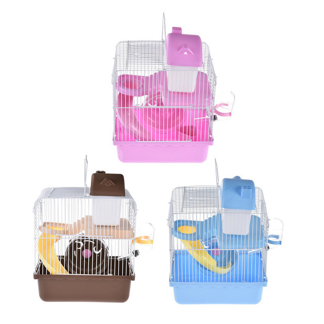 hamster cage double pont petites castelet pet nid souris maison avec toboggan disque tournant. Black Bedroom Furniture Sets. Home Design Ideas