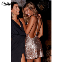 Women Sexy Clubwear Dress Deep V neck Backless Sequin Mini Dress Fashion Spaghetti Strap Party Dresses 8368