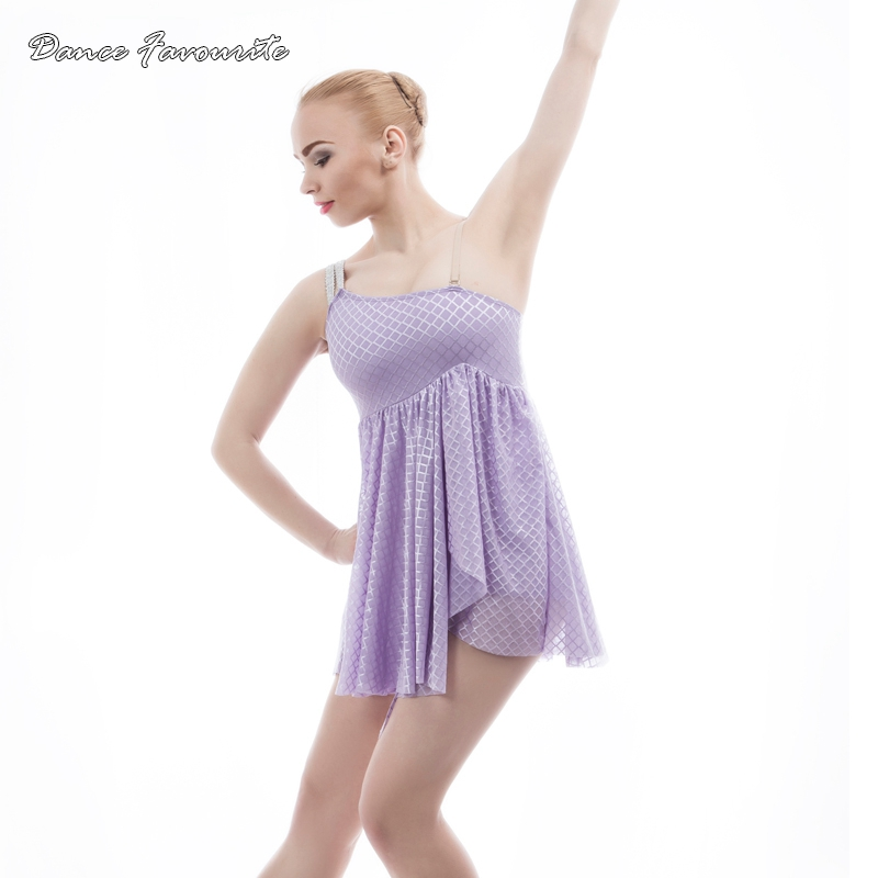 Dance Favourite Women & gilr Lyrical, contemporary ballet dance dress stage performance dance costumes Lilac color dance costume