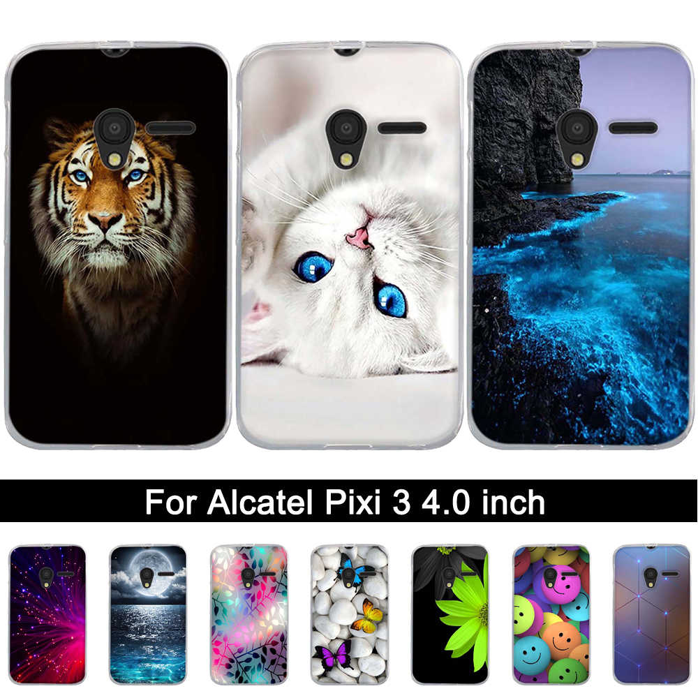 Soft Silicone Case for Alcatel One Touch Pixi 3 4.0 inch Printed TPU Cover for Alcatel Pixi3 4013 4013D 4013X 4050 4050D Shells