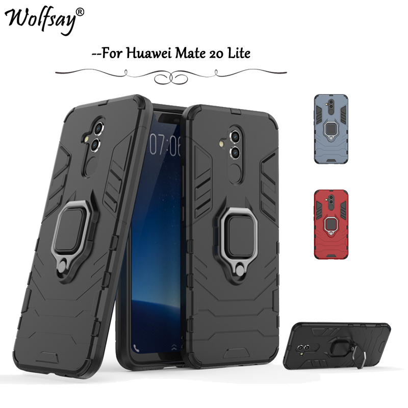 Huawei Mate 20 Lite Phone Case Magnetic Metal Finger Ring Holder Case For Huawei Mate 20 Lite Silicone Cover Huawei Mate 20 Lite feature phone