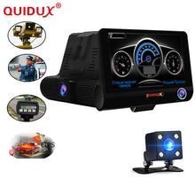 QUIDUX New Russian Voice 3 in 1 Car DVR 4.0 inch car GPS laser radar 1080p HD Car Camera Recorder Laser Detector 3 lens camera