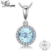 Jewelrypalace 2.7ct природные небесно-сине-белые топаз Halo Solitaire кулон 925 стерлингов Серебряные ювелирные изделия для девочек не включает цепь