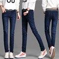 Высокая талия джинсы женские осень Корейской моды эластичный пояс жира XL тонкий стрейч джинсы оптом жира мм