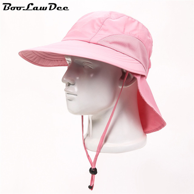 BooLawDee Завод оптовой летние шляпа солнца большой наполнянный до краев отдых для женщин дышащий колпачок камеры отрегулировать свободный размер розовый 4F009