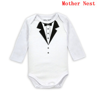 Fashion Autumn Long Sleeve Gentleman Bodysuits Baby Costume Newborn Clothing for Babies Boy Body