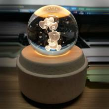 2019 Creative Moon Crystal Ball Night Light Wooden Luminous Music Box Rotary Innovative Festive Home Decor For Birthday Gift