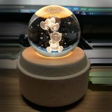 Moon Crystal Ball Night Light Wooden Luminous Music Box Rotary Innovative Festive Home Decor For Birthday Gift