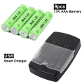 8pcs / lot 1.5V AAA Alkaline Rechargeable Battery + LED Display USB Smart AA AAA Battery Charger free shipping