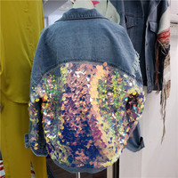 Denim Jacket Female 2019 Spring New European Sequins Splice Loose Denim Coats Girls Students High Street Jeans Coats Women
