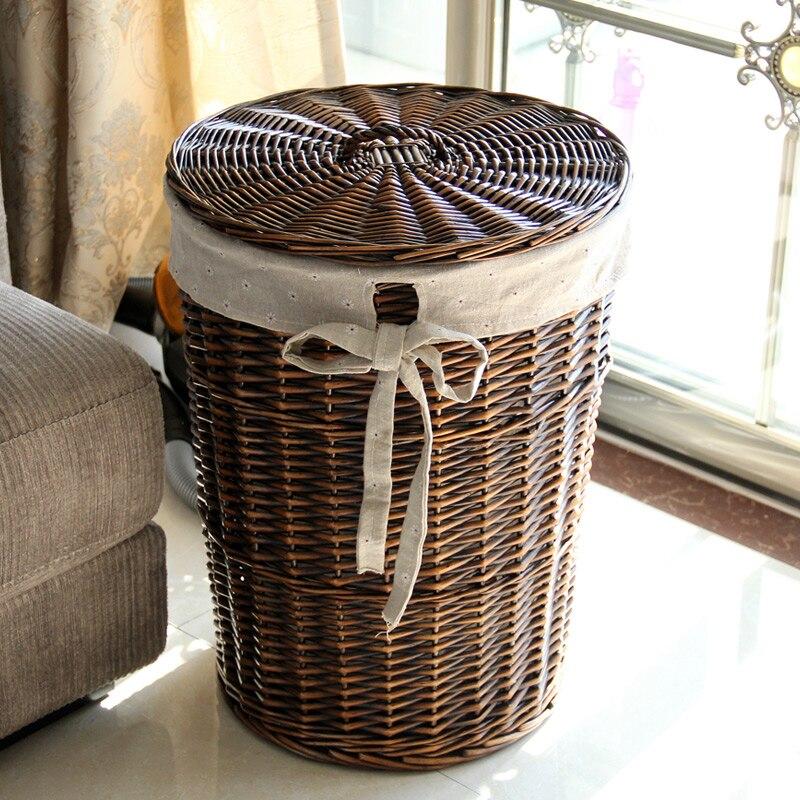 Casa cesta de lavanderia rattan caixa de armazenamento grande cesta de roupa suja cesta de armazenamento de roupas cesta de armazenamento