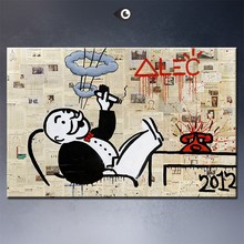 No5 אלק מונופול גדול גרפיטי הדפסת אמנות על בד לקיר בסלון ציור שמן קישוט תמונה