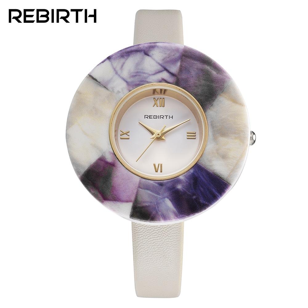 2018 moda nuevo de las mujeres correa de cuero del rectángulo dial relojes Casual analógico cuarzo relojes elegante forma redonda reloj
