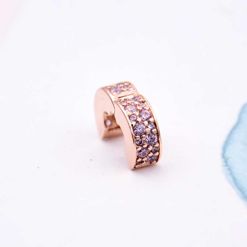 a2aa85586 ... New 925 Sterling Silver Bead Charm Rose Gold Pink Shining Elegance Clip  Lock Stopper Beads Fit