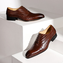 QYFCIOUFU 2019 Classic Men Dress Formal Shoes Ostrich Pattern Male Oxford Office Shoe Genuine Cow Leather Handmade wedding shoes