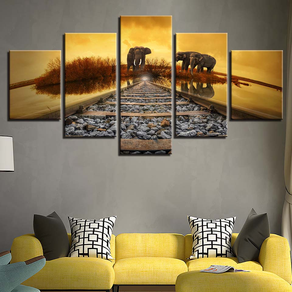 Modular Framework Art Canvas Prints Pictures Living Room 5 Panel Railway Elephant Poster Wall Painting Home Decoration Cuadros