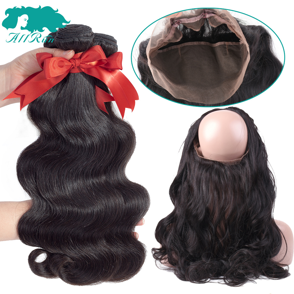 Allrun Brazilian Hair Weave Bundles With Closure Body Wave With Lace Frontal 2/3 Pcs Human Hair Bundles With Closure Non Remy