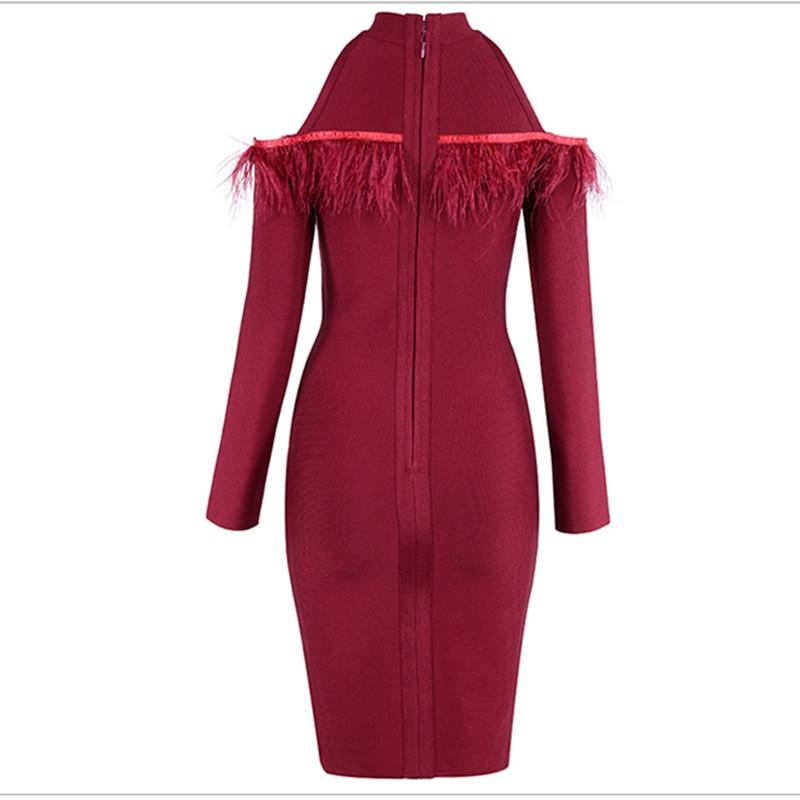 Manches Robe De Longues 2018 Bandage Nouvelle Out Moulante À Designer Femmes Creux Piste Plume Parti Mode KJucTl13F