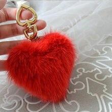 11cef237e9b Fashion Bag Charm Heart Shape Fluffy Mink fur Key chain Keyring Women  Handbag Car Purse Pendant