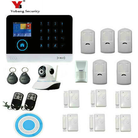 YobangSecurity Wireless GSM Security IP Camera WIFI Home Security Surveillance Alarm System With Pet Immune Detector Friendly yobangsecurity touch keypad wireless wifi gsm home security burglar alarm system wireless siren wifi ip camera smoke detector