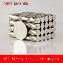 CE ROSH 100pcs powerful Round Dia. 8mm x 1.5mm N50 Rare Earth Neodymium Magnet Art Craft Fridge 8*1.5mm rare earth high purity cerium ammonium nitrate ce nh4 2 no3 6