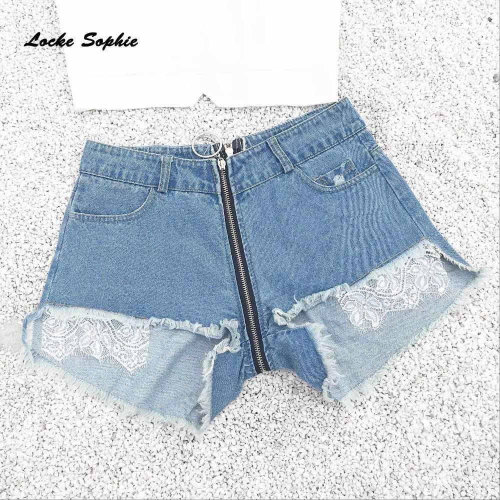 Wysokiej talii Sexy dżinsy damskie spodenki jeansowe 2019 moda lato denim koronki łączenie panie Skinny jeansowe krótkie dżinsy