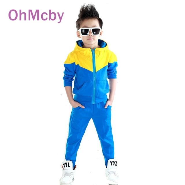 Hot sale New Baby Boys Clothes Set Hoodied Clothes Suit 4 Colors Boys Sports Suit Full sleeve Patchwork Boys Clothing Set
