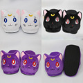 Anime Cartoon Sailor Moon Luna Artemis Plush Slippers Shoes Home House Winter Slippers Plush Toys 3 Colors