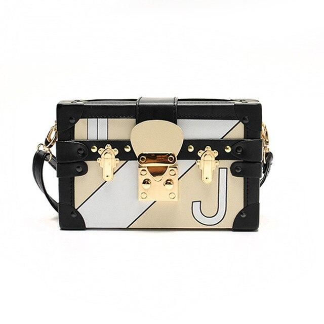 Vintage Square Handbags Clutch Retro Women Messenger Bags Mini Locks Box Bag Chain Crossbody Shoulder