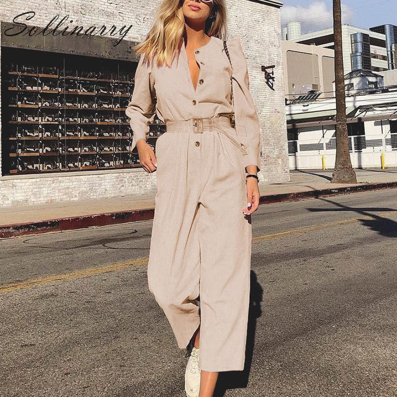 Sollinarry New Fashion Autumn Casual Long   Jumpsuit   Women 2019 High Waist Button Corduroy   Jumpsuits   Romper Female Winter Romper