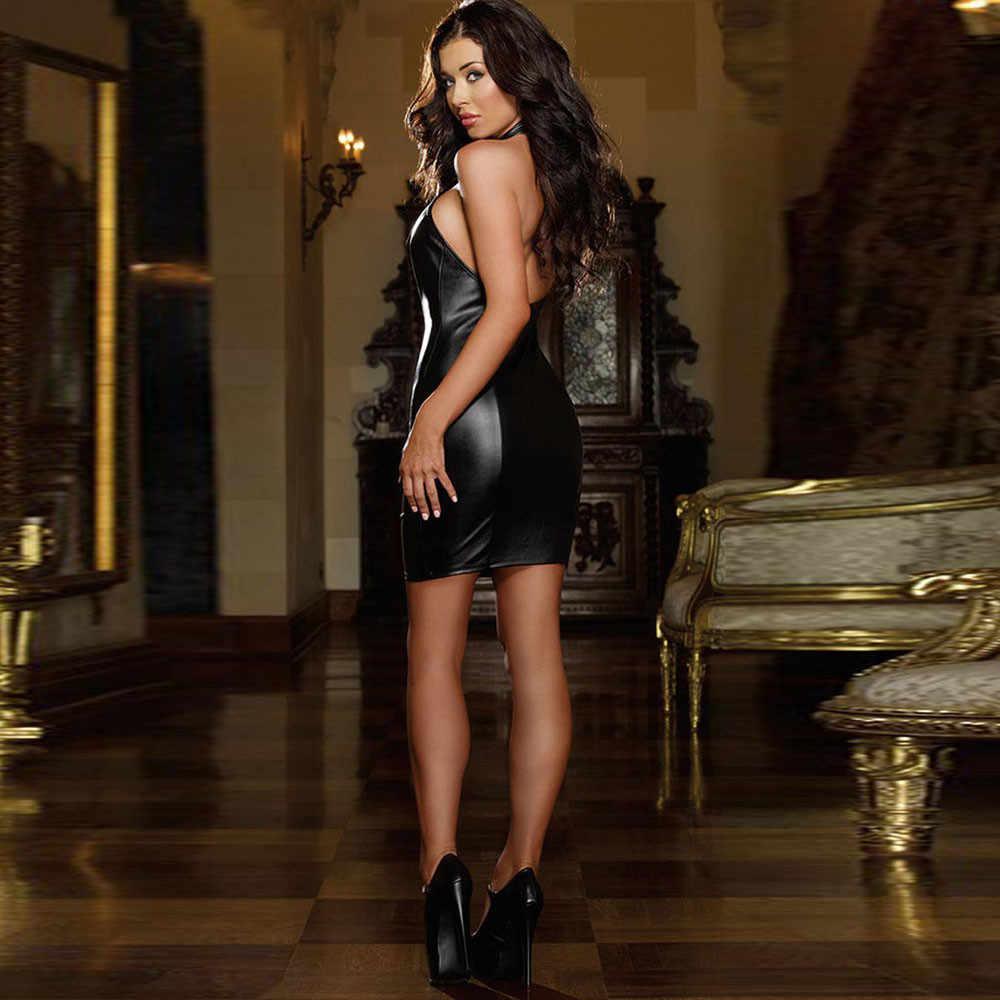 Phụ nữ Đen Sexy Bodycon Da Dresses Strapless Latex Câu Lạc Bộ Mặc Trang Phục Vải Mini Dress Vestidos Elbise Áo Femme 7.5- 10