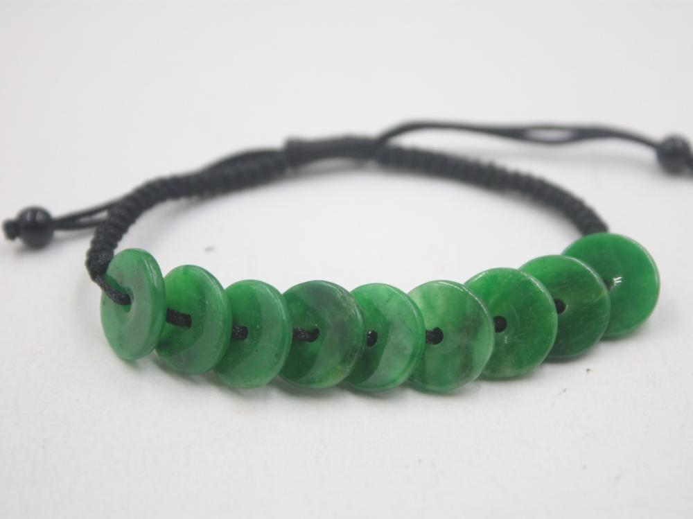 Real Natural Jade Jadeite Bracelet Round Green Safety Button For Women And Men Red Rope Weave Lucky Bracelet 6.3''L