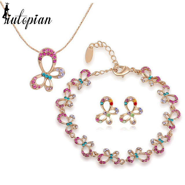 Iutopian Brand Lovely Butterfly Joias Set With Austrian Crystal Stellux Rose  Top Quality #RG84801
