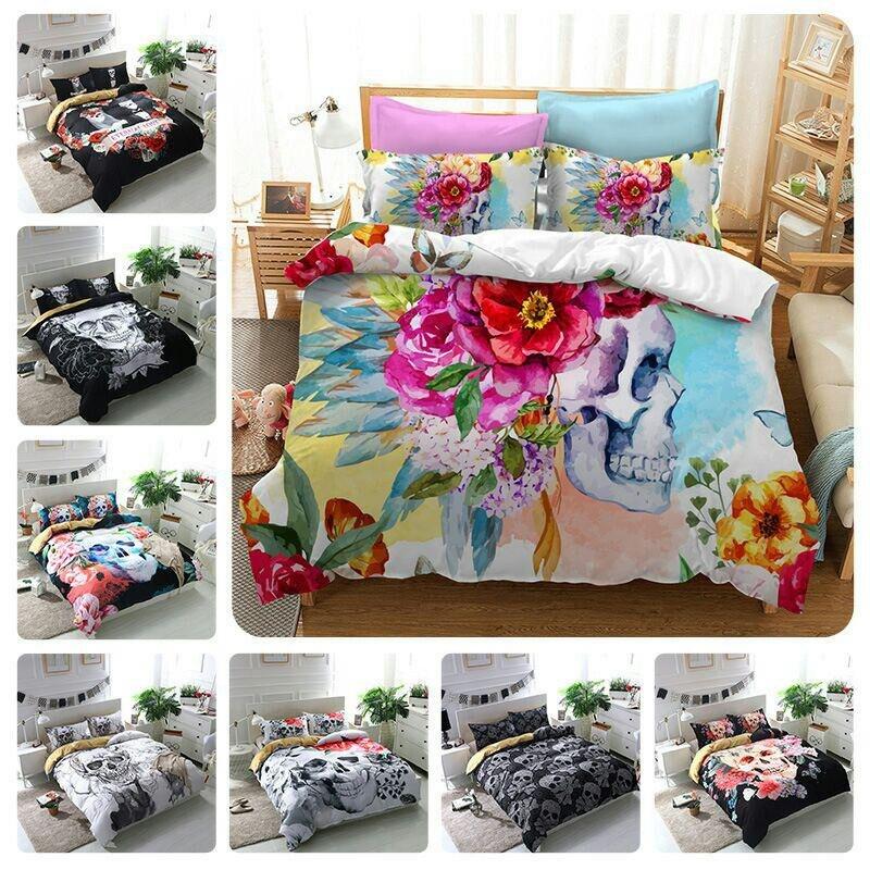 FANAIJIA 3d cráneo flores funda de edredón con almohada cama de cráneo de azúcar Set Au reina tamaño King colcha acolchada cama