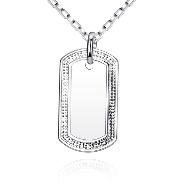SPCN272 Men s Women s 925 Sterling Silver Dog Tag Pendant Necklace High  Quality Male Female 925 Sterling-Silver-Jewelry b0d08fac71