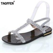 Femmes Appartements Sandales Diamant Chaussures Plates Bohême Femme Mousseux String Dames Plage Sandale Argent Noir Chaussures Taille 35-40