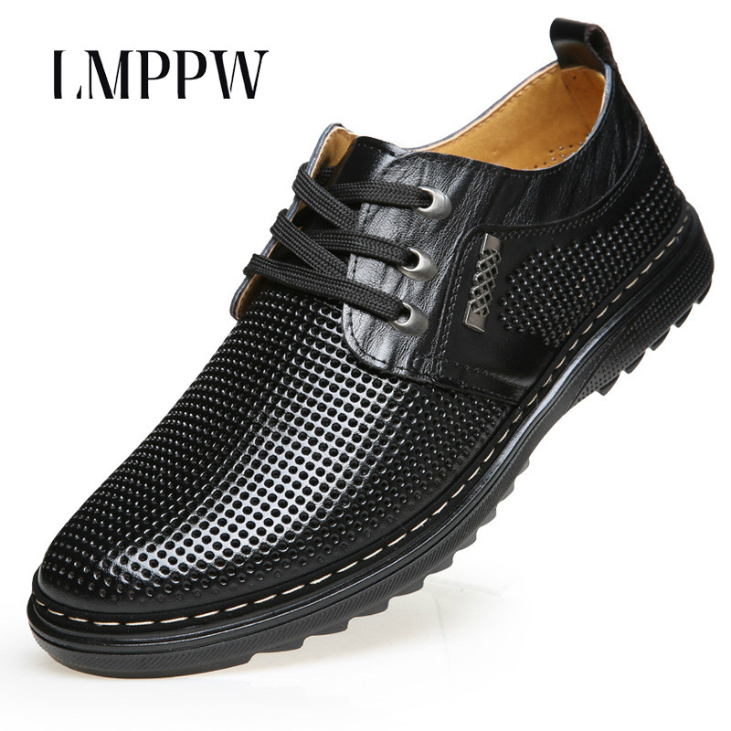 New 2018 Summer Mens Leather Shoes, Business Casual Hollow Out Mens Shoes Breathable Sandals Soft Moccasins Men Driving Shoes