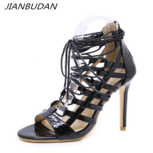 JIANBUDAN/ Mature sexy women's high heel sandals 11cm heel gladiator sandals Ankle strap  Open Toe Large size banquet high heels high quality white suede fringed high heel sandals 2015 sexy open toe ankle strap sandals summer high heel sandals