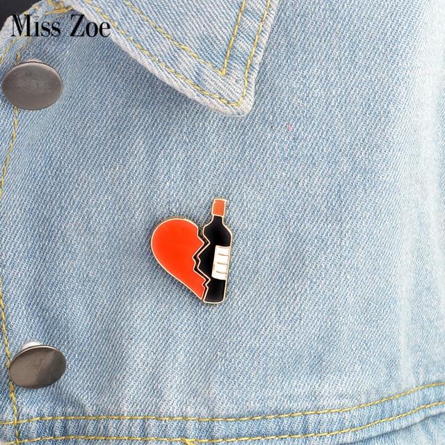 2pcs/set Broken heart wine bottle pin Metal brooch Pins DIY Sweater Denim jacket