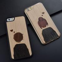Lovers Splicing retro original unique romantic design wood phone case for iPhone 6 S 7 8 plus wooden cover for Huawei P10 plus