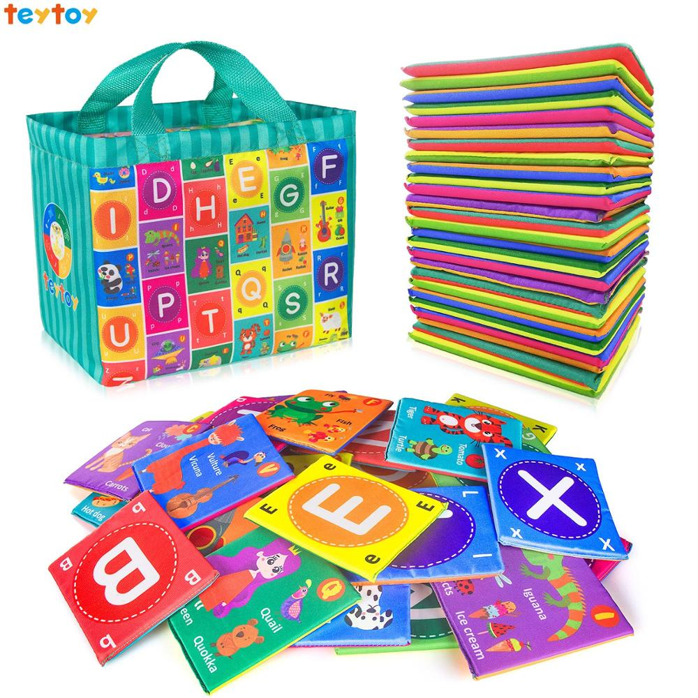Teytoy Baby Soft Alphabet Cards Toys, Baby Early Learning Puzzle Toy With Storage Bag,Washable Soft Cloth Toy